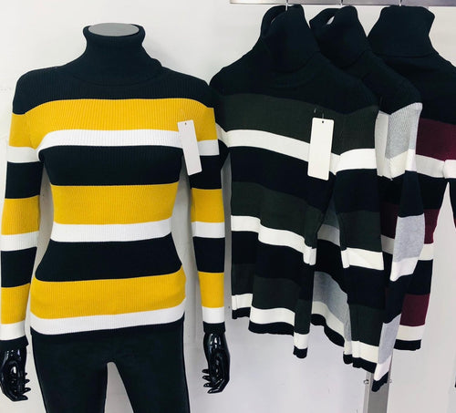 Striped Turtle Neck Jumpers Variety of Colours