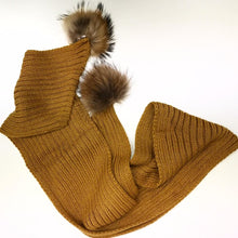 Knitted Fur Pom Pom Scarf - Various Colours
