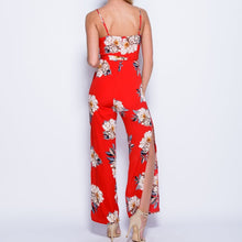 Large Print Slit Wide Leg Jumpsuit