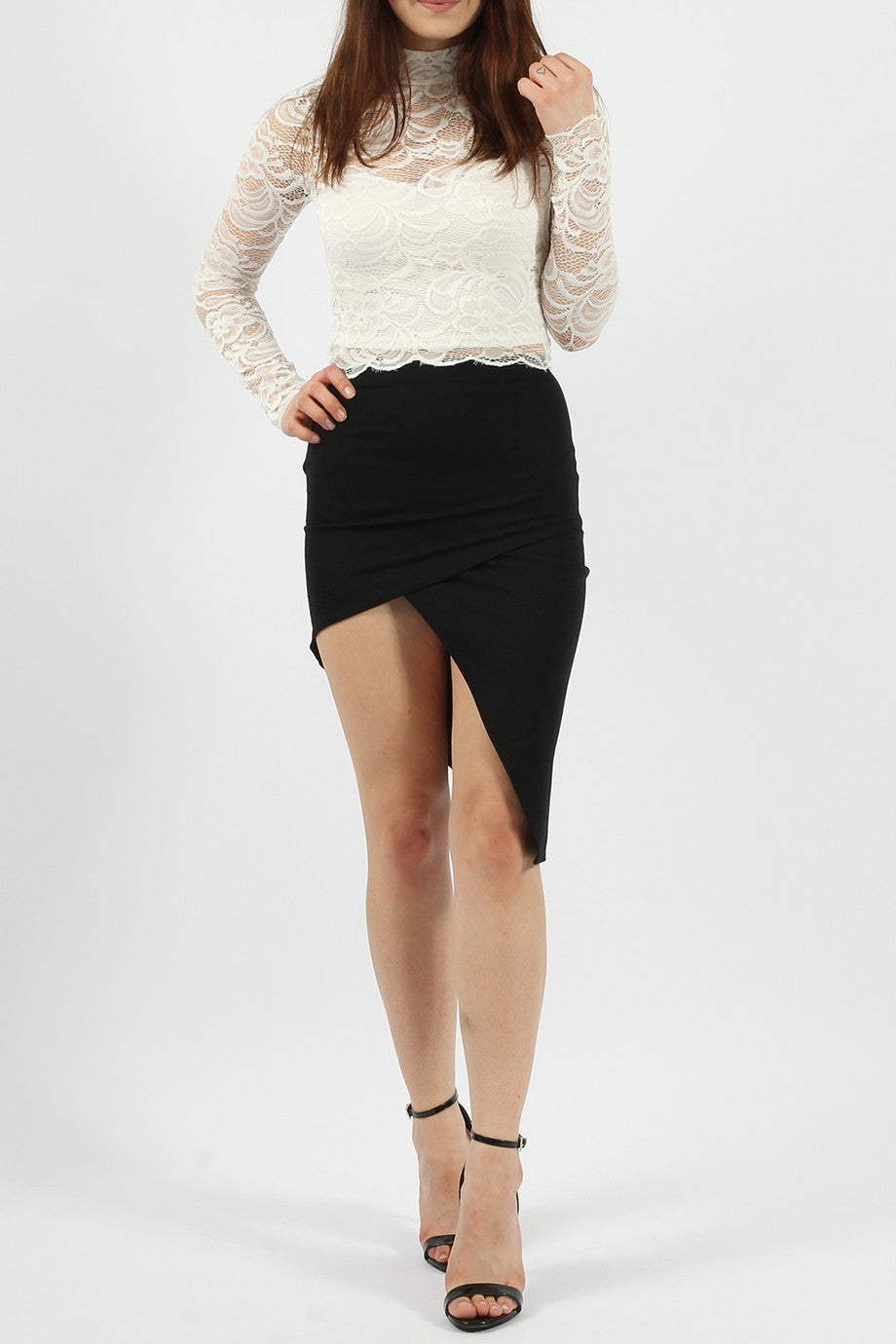 Asymmetric Wrap Midi Pencil Skirt