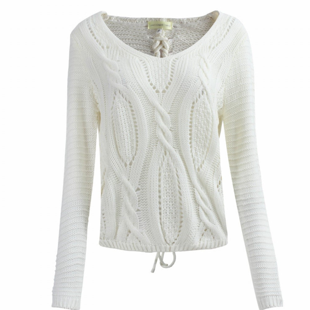 White Cable Knit Jumper With Lace Up Back