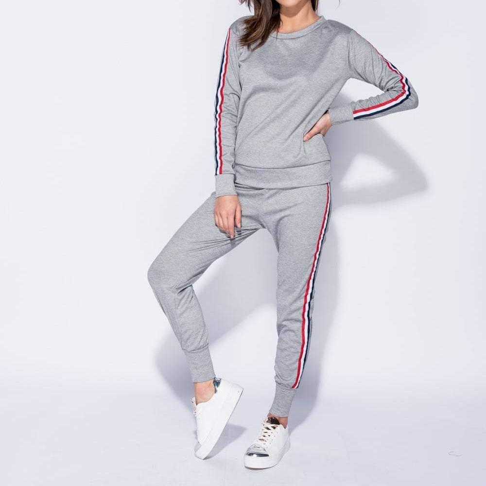 Grey Striped Detail Jog Tracksuit