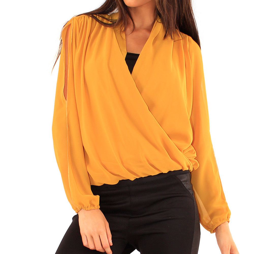 Mustard Wrap Over Blouse