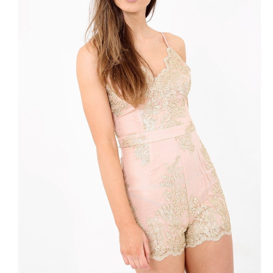 Nude Gold Lace Strappy Fitted Playsuit