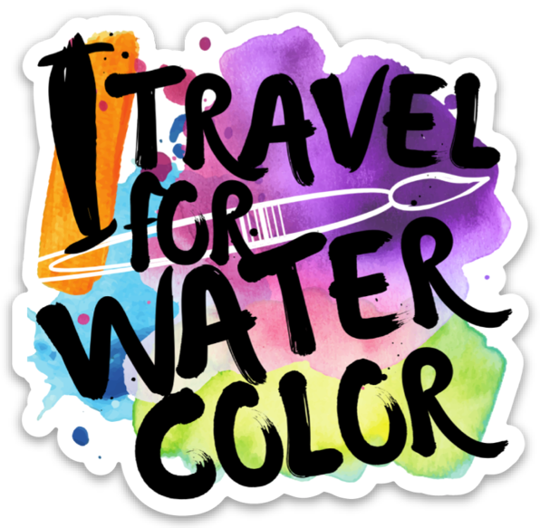 "I Travel For Watercolor Die-Cut Sticker - 3x3"" - Wild Plein"