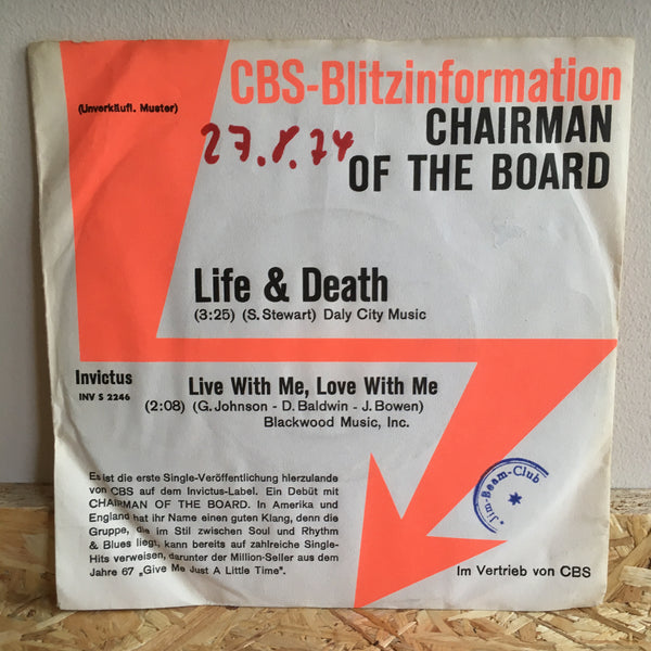 Chairman Of The Board ‎– Life & Death/Live With Me, Love With Me