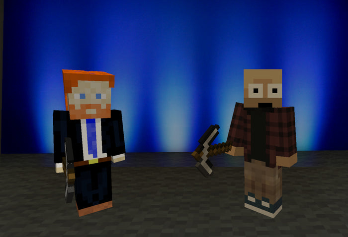 _Theonel_ (Jeff Weston) and Baldnerd (Robbie Ferguson) in Minecraft