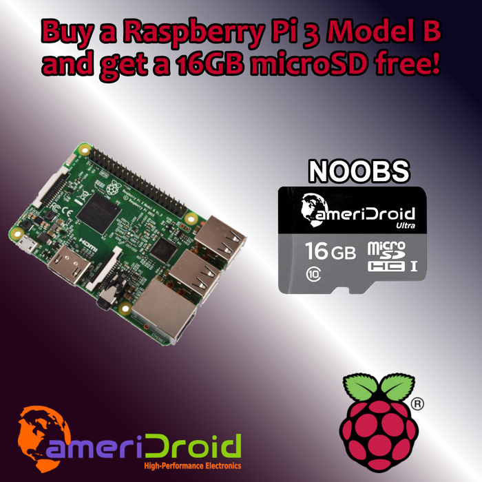 SALE: Raspberry Pi 3 Model B + 16GB NOOBS SanDisk microSD $33.95!