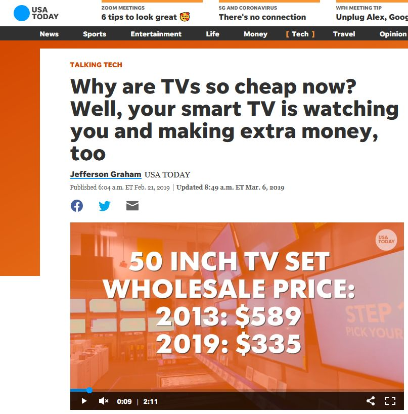 News: USA Today Says Smart TVs Track Your Viewing