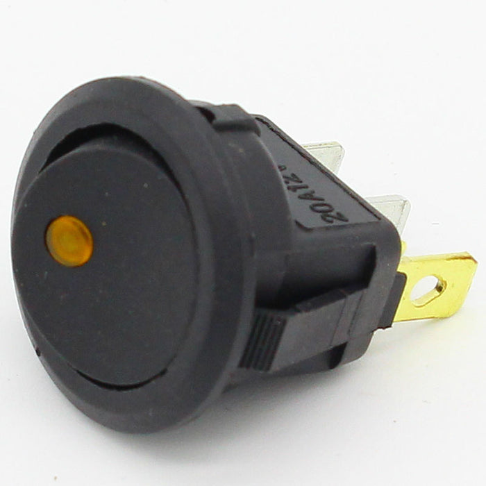 Rocker Switch - Maintained 12V/20A Yellow LED