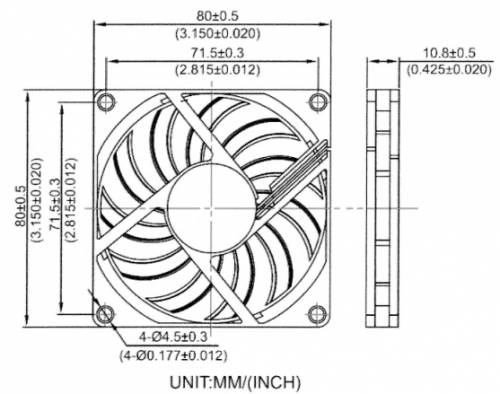 80x80x10.8mm DC Cooling Fan (2-pin Connector)
