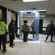 Easily move a heavy piece of glass - clear freight elevator opening