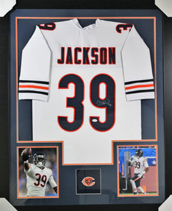 Eddie Jackson framed autographed white jersey 56b50853a