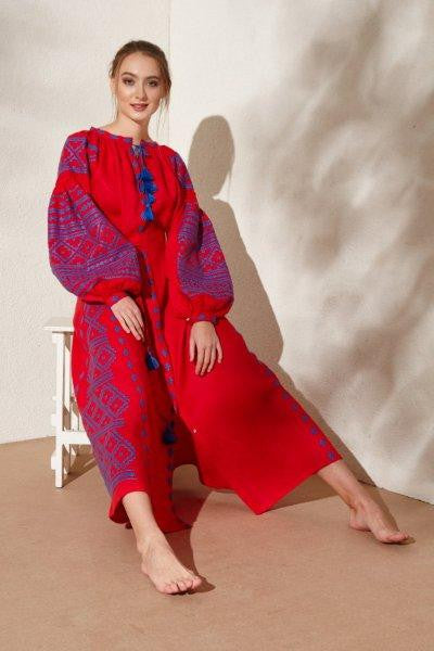 Harmony embroidered red linen dress