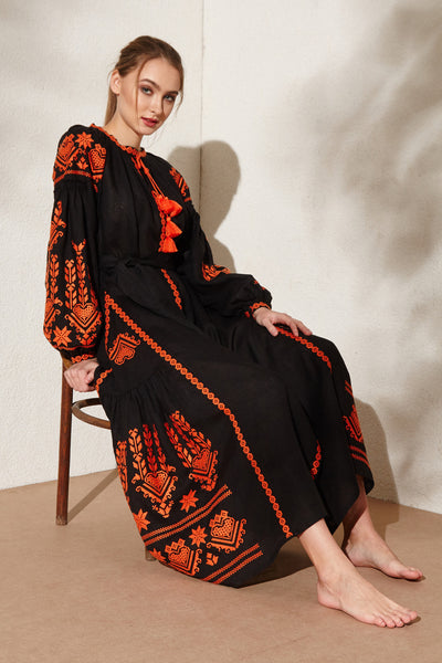 Agnes embroidered black dress - Vyshyvanka, Ukrainian design