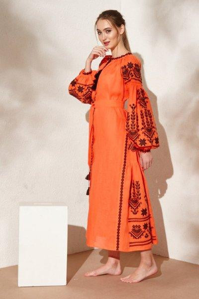 Agnes embroidered orange dress