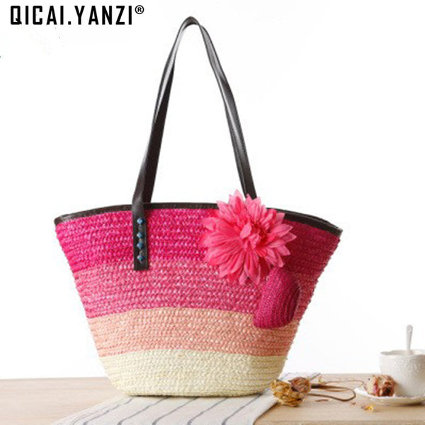 2pc/lot Knitted Straw Bag 2017 Summer Flower Bohemia Fashion Women Handbags Color Stripes Shoulder Bags Beach Bag Big Tote P604