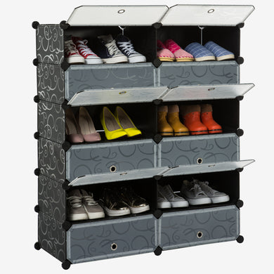 Unicoo - Multi Use DIY Plastic 12 Cube Shoe Rack ,Organizer, Bookcase, Shoes Cabinet (26, Black)