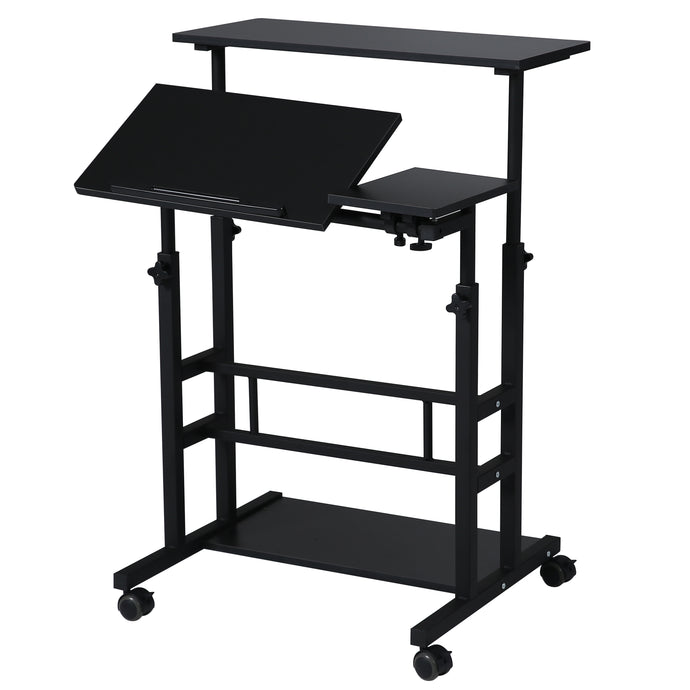 UNICOO- Height Adjustable Sit Stand Workstation, Mobile Standing Desk, Rolling Presentation Cart, Stand Up Computer Desk with Dual Surface for Home Office (U101-Black)