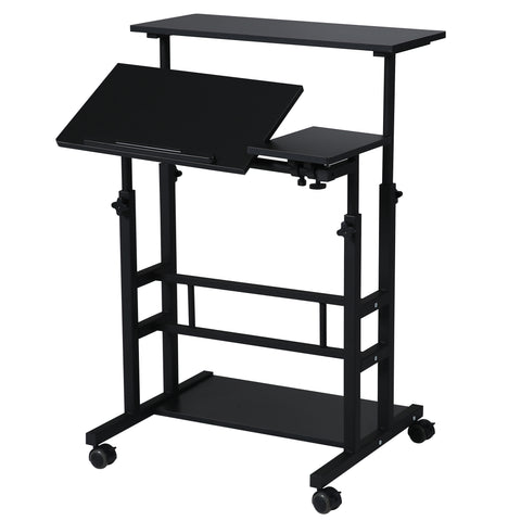 UNICOO- Rolling Laptop Cart, Height Adjustable Sit Stand Workstation, Mobile Standing Desk, Rolling Presentation Cart, Computer Workstation (Black U101)