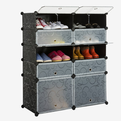 Unicoo - Multi Use DIY Plastic 10 Cube Shoe Rack ,Organizer, Bookcase, Shoes Cabinet (Black With White Doors )