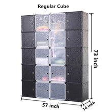 Unicoo - Multi Use DIY Plastic 20 Cube Organizer, Bookcase, Storage Cabinet, Wardrobe Closet Black with Black + White Door (Regular Cube)
