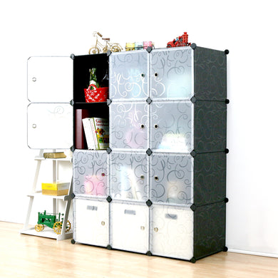 UNICOO Multi Use DIY 12 Cube Organizer, Bookcase, Storage Cabinet, Wardrobe Closet (Regular Cube, Black)