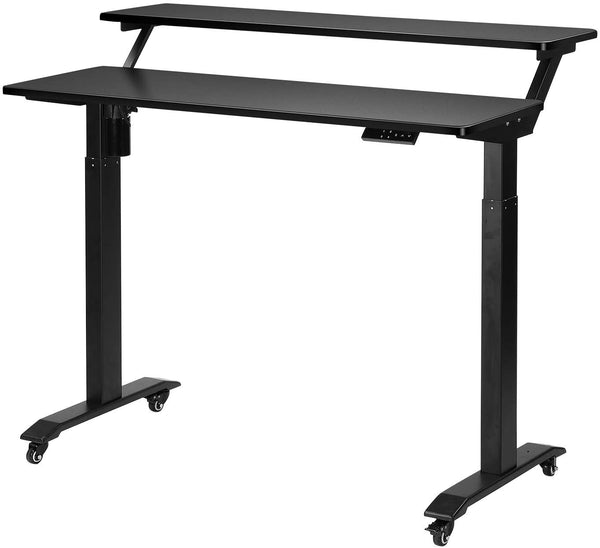 UNICOO Two Tier Electric Standing Desk (Black Top/Black Legs - Electric-2 Tier))