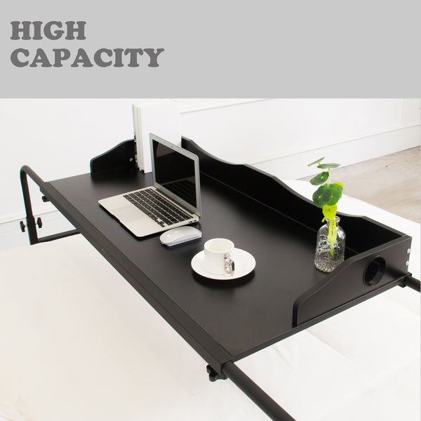 UNICOO - Height Adjustable Overbed Table (Black)