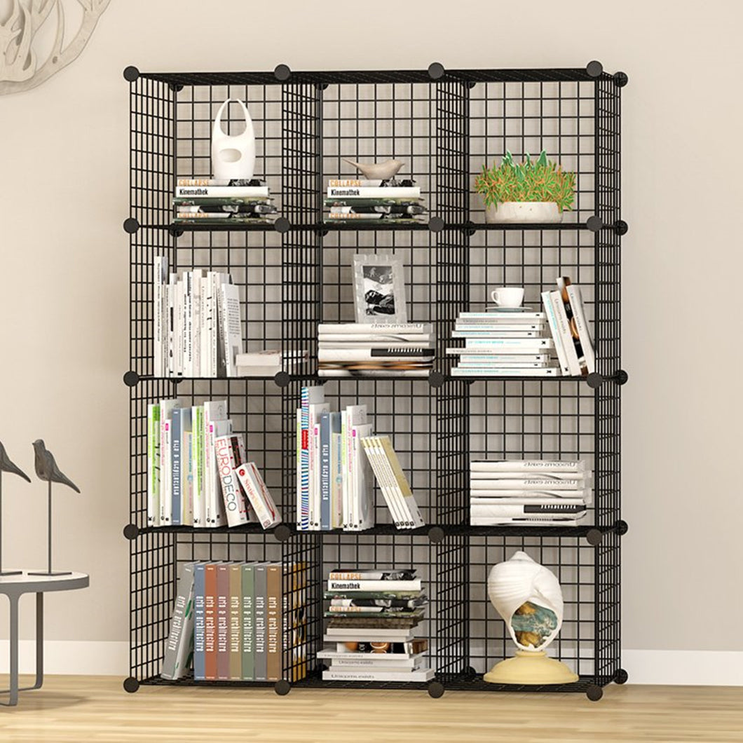 UNICOO - Multi Use DIY 12 Cube Wire Grid Organizer, Bookcase, Bookshelf, Storage Cabinet, Wardrobe Closet,Toy Organizer, Wire Cube Storage- (Black Wire)