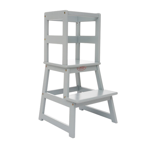 UNICOO - Kids Learning Stool, Kids Kitchen Step Stool, Toddler Stool with Safety Rail-Solid Hardwood Construction. Perfect for Toddlers - LT01-Grey