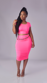 Far From Basic Skirt Set (Neon Pink)