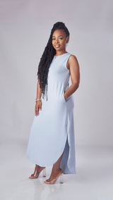 Comfy Vibe Dress (Ash Blue)
