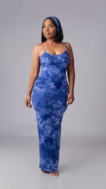 Tie Dye Maxi Dress (Navy/White)