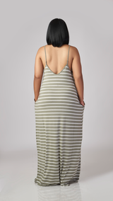 Just lounging Stripe Maxi (Light Olive)