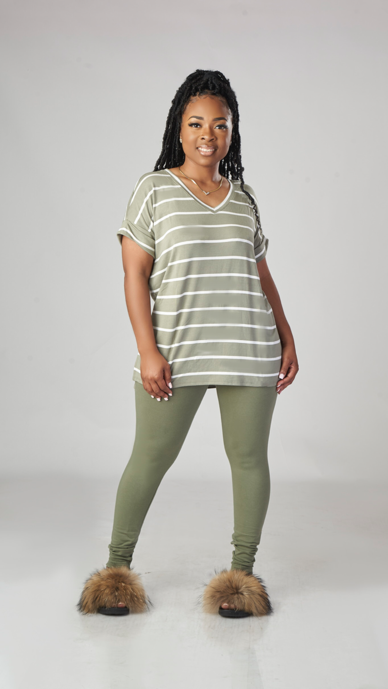 Just Lounging Stripe Set (Olive)