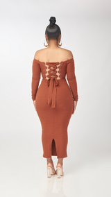 Lovely Laced Dress (Brown)