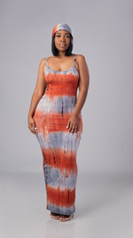 Tie Dye Maxi Dress (Rust/Gray)