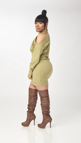 Cold Shoulder Dress (Olive)