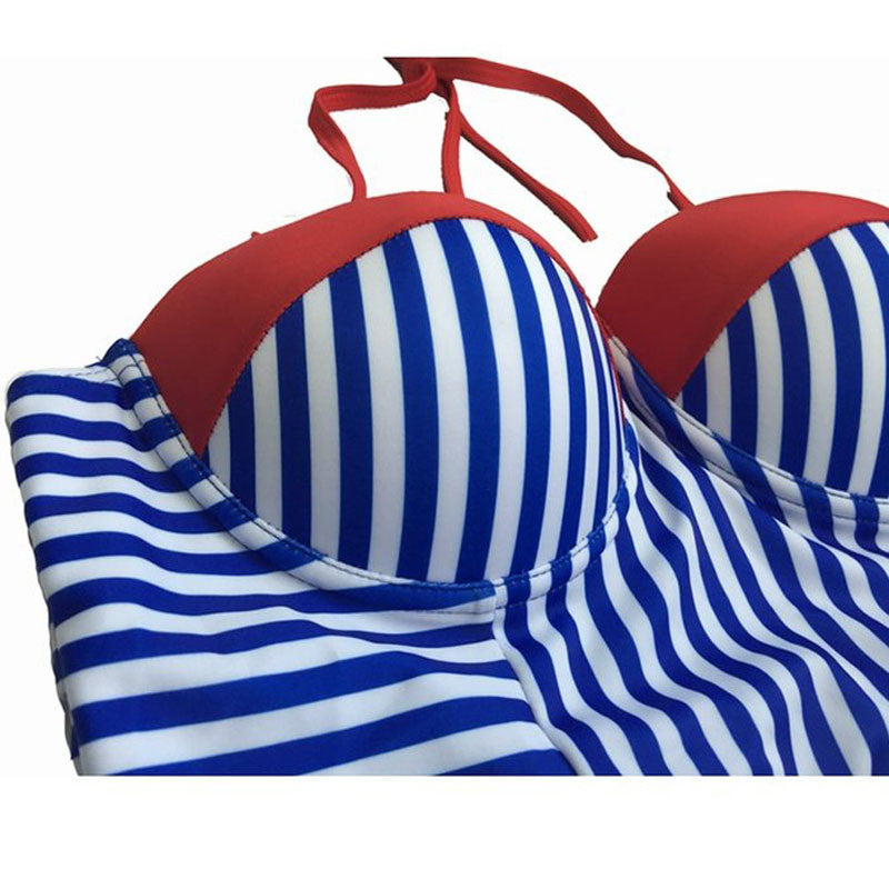 USA Red White & Blue Push-up Striped Swimsuit - AH Boutique
