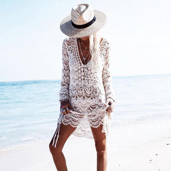 """Lace Bikini Cover-Up"" Beige Or White - AH Boutique"