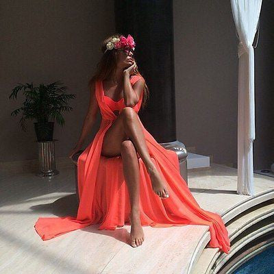 """Long Chiffon Beach Maxi"" Bathing Suit Cover-up - AH Boutique"