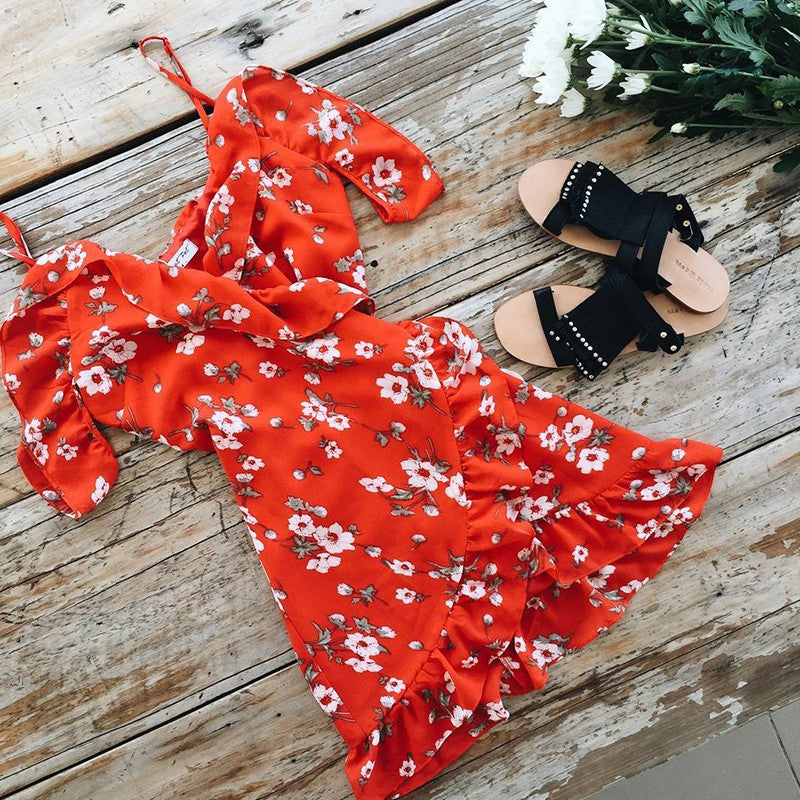Off the Sholder Summer Red Flower Print - AH Boutique