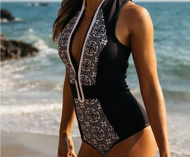 Retro Floral Print One Piece Swimsuit - AH Boutique