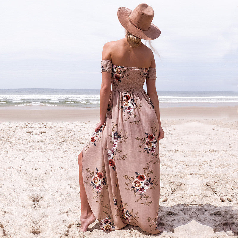 Off shoulder Vintage Chiffon Floral Long Dress - AH Boutique