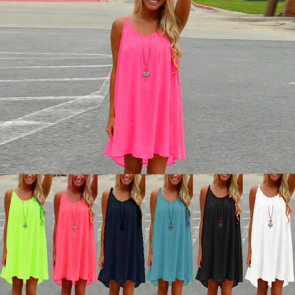 """Fluorescence Chiffon Loose Beach Dress"" - AH Boutique"