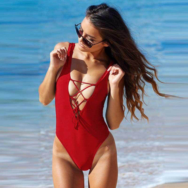 """Low V"" One Piece Swimwear Black, White & Red - AH Boutique"
