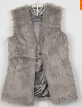 """Gray Fur Vest"" (With Pockets) - AH Boutique"
