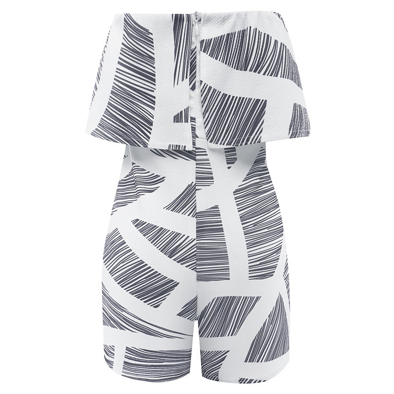 """Strapless Striped Gray & White Romper"" - AH Boutique"