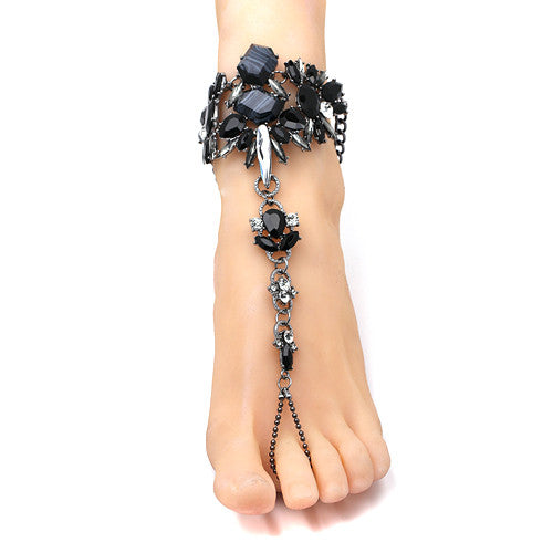 """Crystaled Barefoot Beach Foot Jewelry"" - AH Boutique"